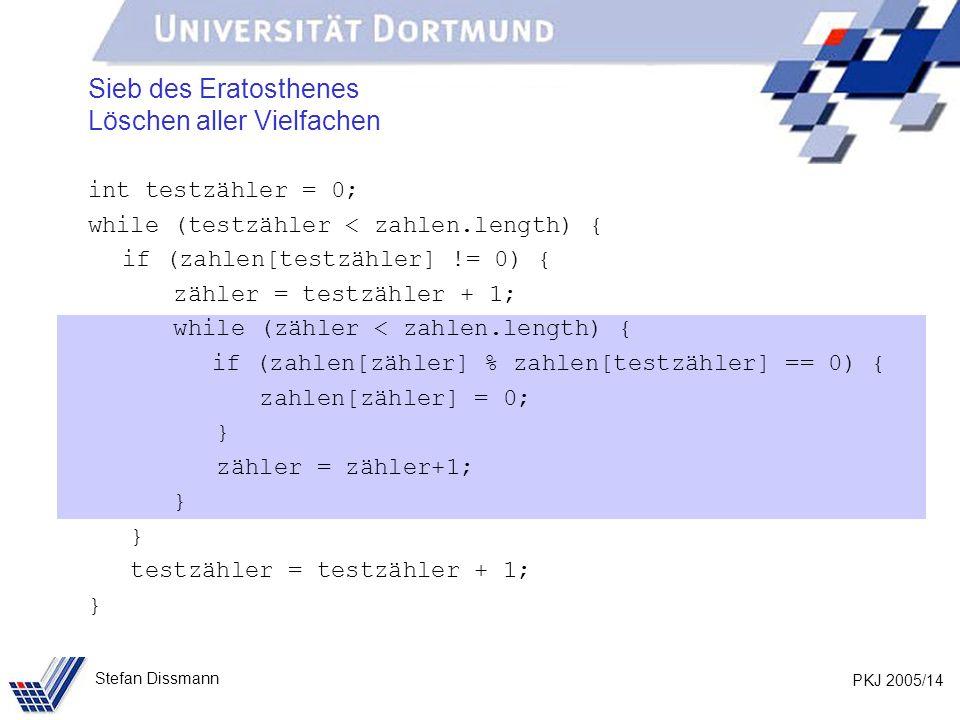PKJ 2005/14 Stefan Dissmann Sieb des Eratosthenes Löschen aller Vielfachen int testzähler = 0; while (testzähler < zahlen.length) { if (zahlen[testzäh