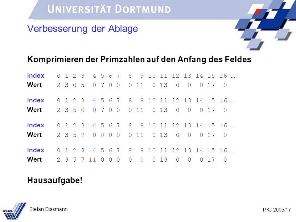 PKJ 2005/17 Stefan Dissmann Verbesserung der Ablage Komprimieren der Primzahlen auf den Anfang des Feldes Index 0 1 2 3 4 5 6 7 8 9 10 11 12 13 14 15