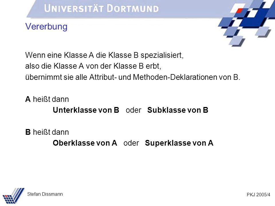 PKJ 2005/45 Stefan Dissmann Referenzen auf Ober- und Unterklassen Beispiel – es geht auch wieder zurück: Person p = new Person (Meier, Jana, Dortmund); Kunde k = new Kunde (Schmidt, Axel, Bochum, 103); p = k; System.out.println(p.gibOrt()); System.out.println(p.toString()); k = (Kunde)p; expliziter Type-Cast: Der Programmierer versichert dem Programm, dass p auf ein Objekt der Klasse Kunde verweist.