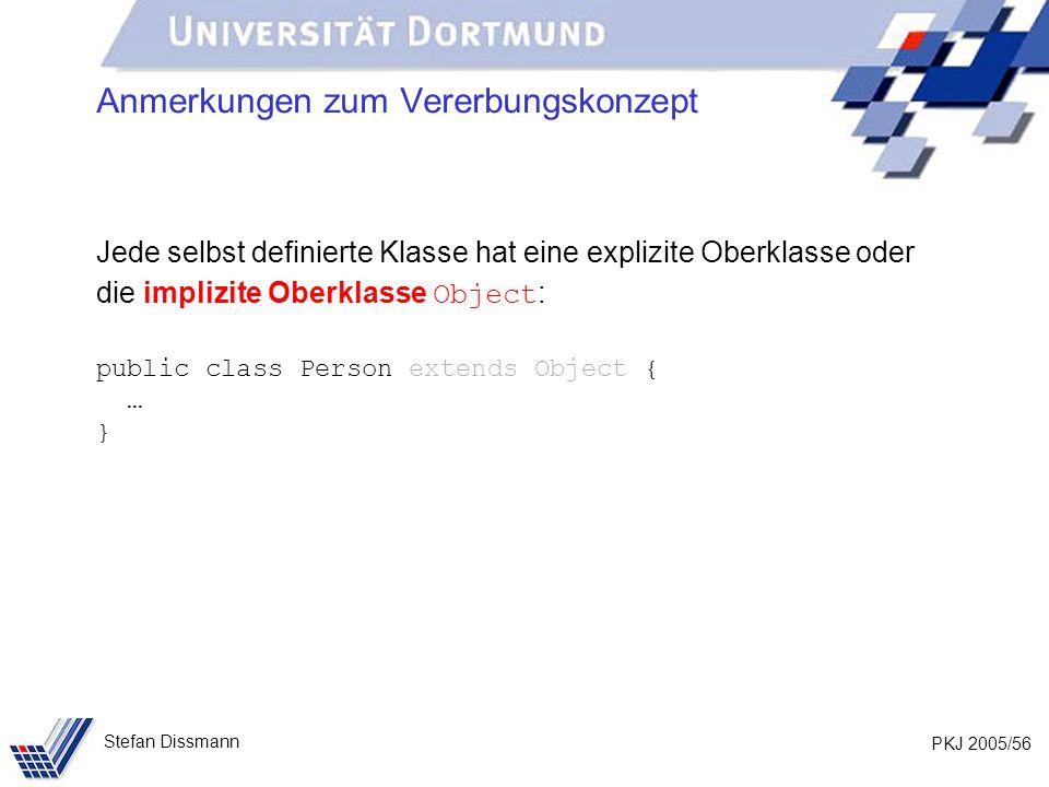 PKJ 2005/56 Stefan Dissmann Anmerkungen zum Vererbungskonzept Jede selbst definierte Klasse hat eine explizite Oberklasse oder die implizite Oberklass