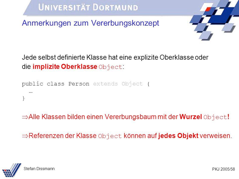 PKJ 2005/58 Stefan Dissmann Anmerkungen zum Vererbungskonzept Jede selbst definierte Klasse hat eine explizite Oberklasse oder die implizite Oberklass