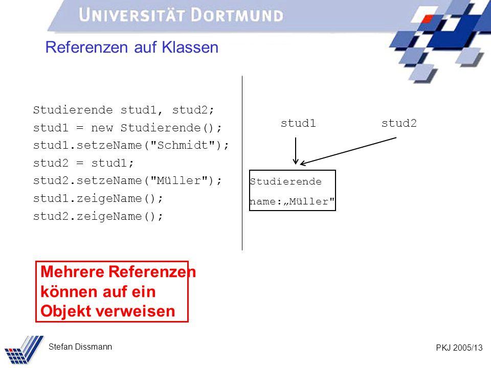 PKJ 2005/13 Stefan Dissmann Referenzen auf Klassen Studierende stud1, stud2; stud1 = new Studierende(); stud1.setzeName(