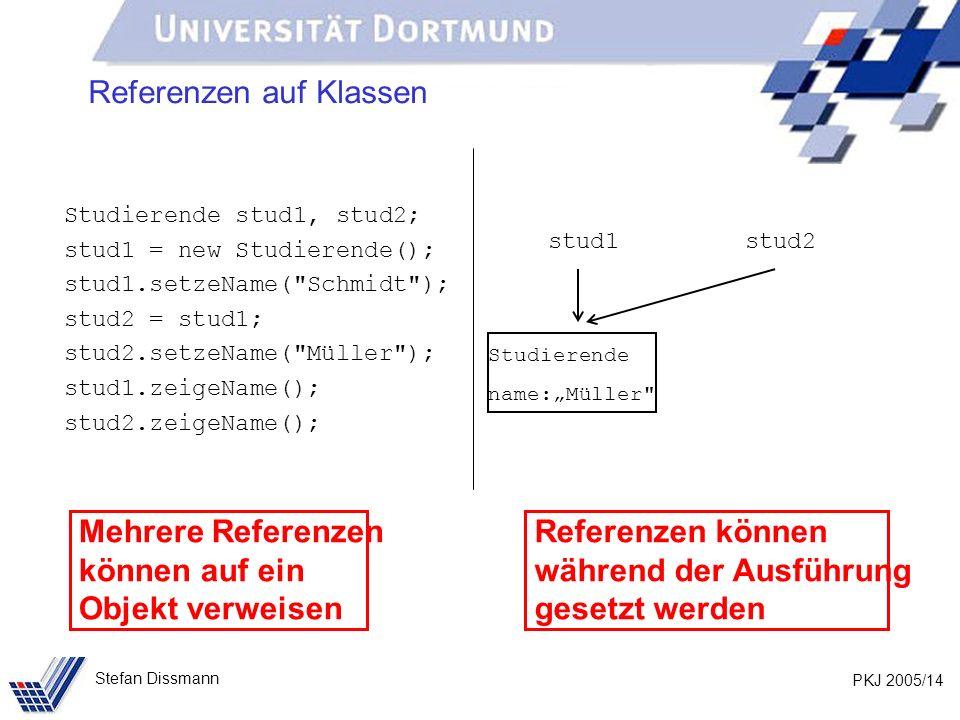 PKJ 2005/14 Stefan Dissmann Referenzen auf Klassen Studierende stud1, stud2; stud1 = new Studierende(); stud1.setzeName( Schmidt ); stud2 = stud1; stud2.setzeName( Müller ); stud1.zeigeName(); stud2.zeigeName(); stud1stud2 Studierende name:Müller Mehrere Referenzen können auf ein Objekt verweisen Referenzen können während der Ausführung gesetzt werden