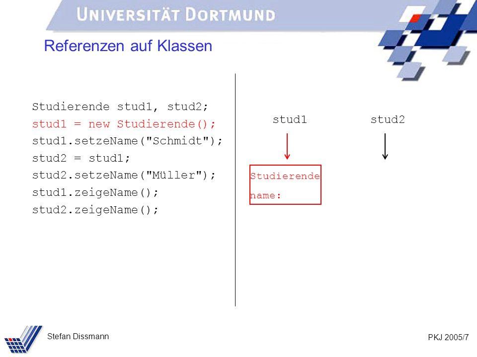 PKJ 2005/7 Stefan Dissmann Referenzen auf Klassen Studierende stud1, stud2; stud1 = new Studierende(); stud1.setzeName( Schmidt ); stud2 = stud1; stud2.setzeName( Müller ); stud1.zeigeName(); stud2.zeigeName(); stud1stud2 Studierende name: