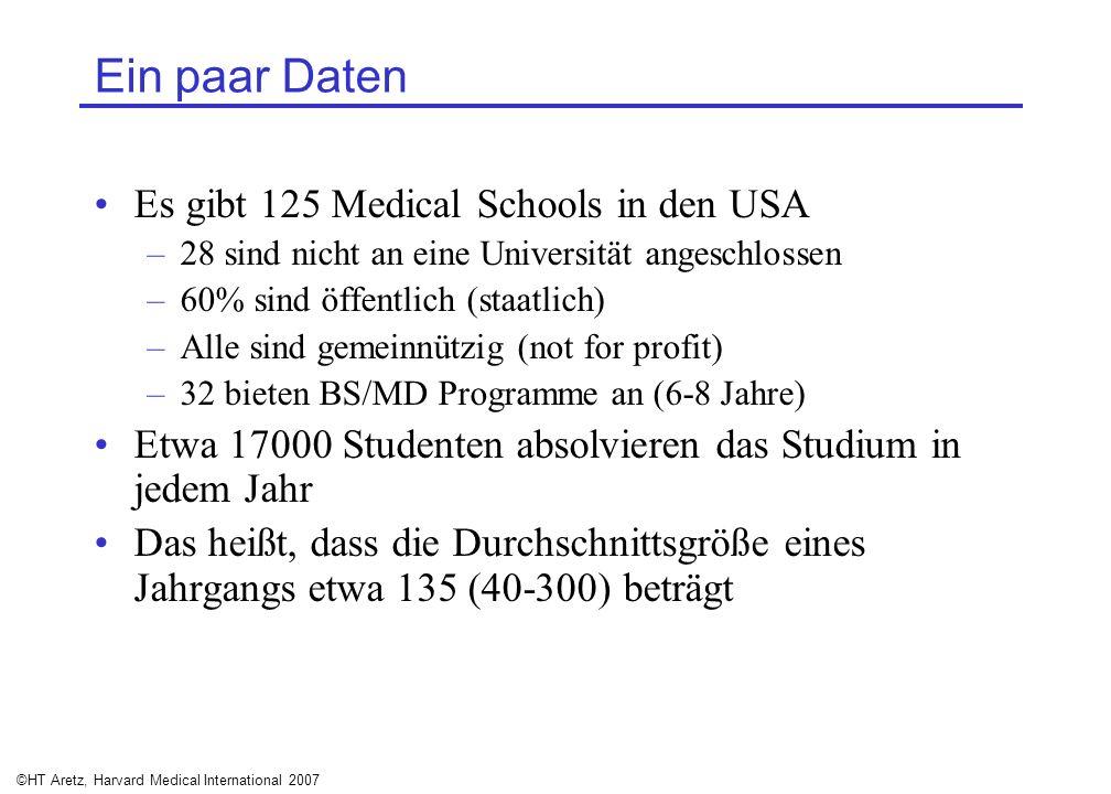 ©HT Aretz, Harvard Medical International 2007 Ein paar Daten Es gibt 125 Medical Schools in den USA –28 sind nicht an eine Universität angeschlossen –