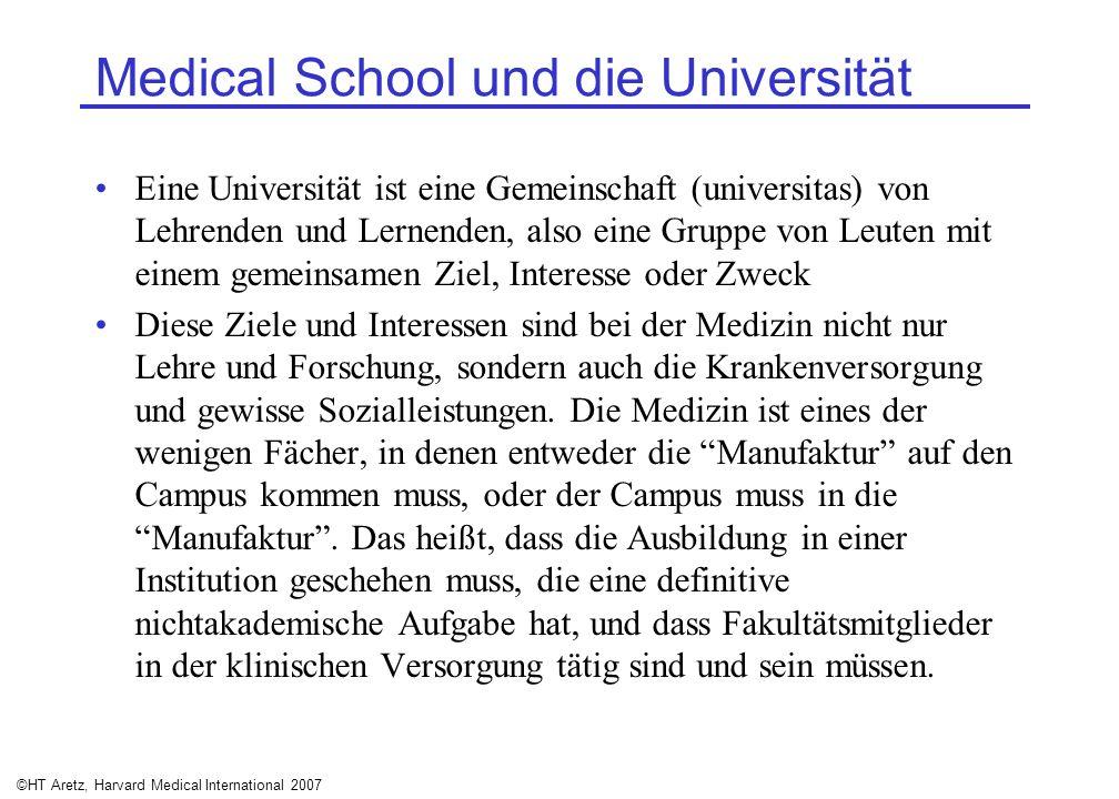 ©HT Aretz, Harvard Medical International 2007 Medical School und die Universität Eine Universität ist eine Gemeinschaft (universitas) von Lehrenden un