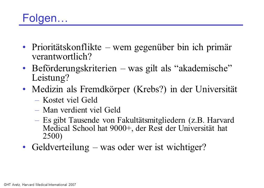 ©HT Aretz, Harvard Medical International 2007 Folgen… Prioritätskonflikte – wem gegenüber bin ich primär verantwortlich? Beförderungskriterien – was g