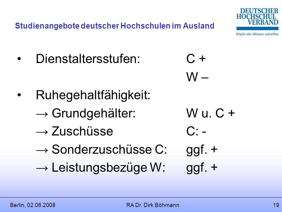 Berlin, 02.06.2008RA Dr. Dirk Böhmann18 Studienangebote deutscher Hochschulen im Ausland Welche Folgen hat die Beurlaubung für die Besoldung? Untersch