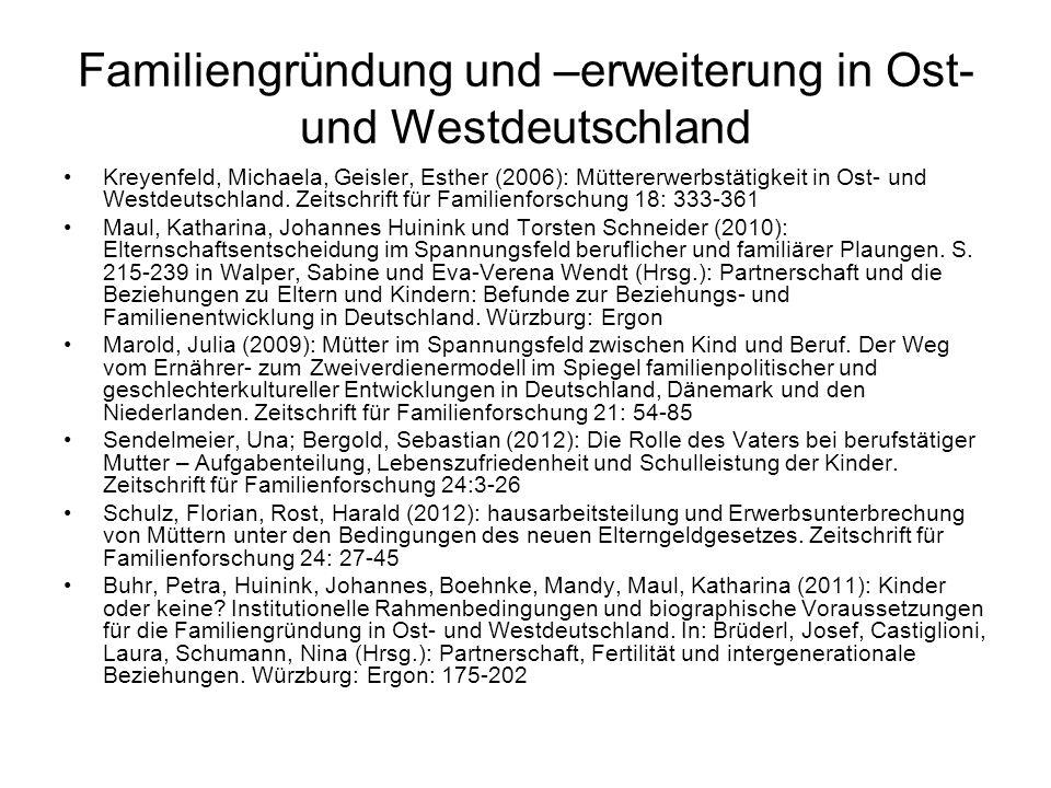 Familiengründung und –erweiterung in Ost- und Westdeutschland Kreyenfeld, Michaela, Geisler, Esther (2006): Müttererwerbstätigkeit in Ost- und Westdeu