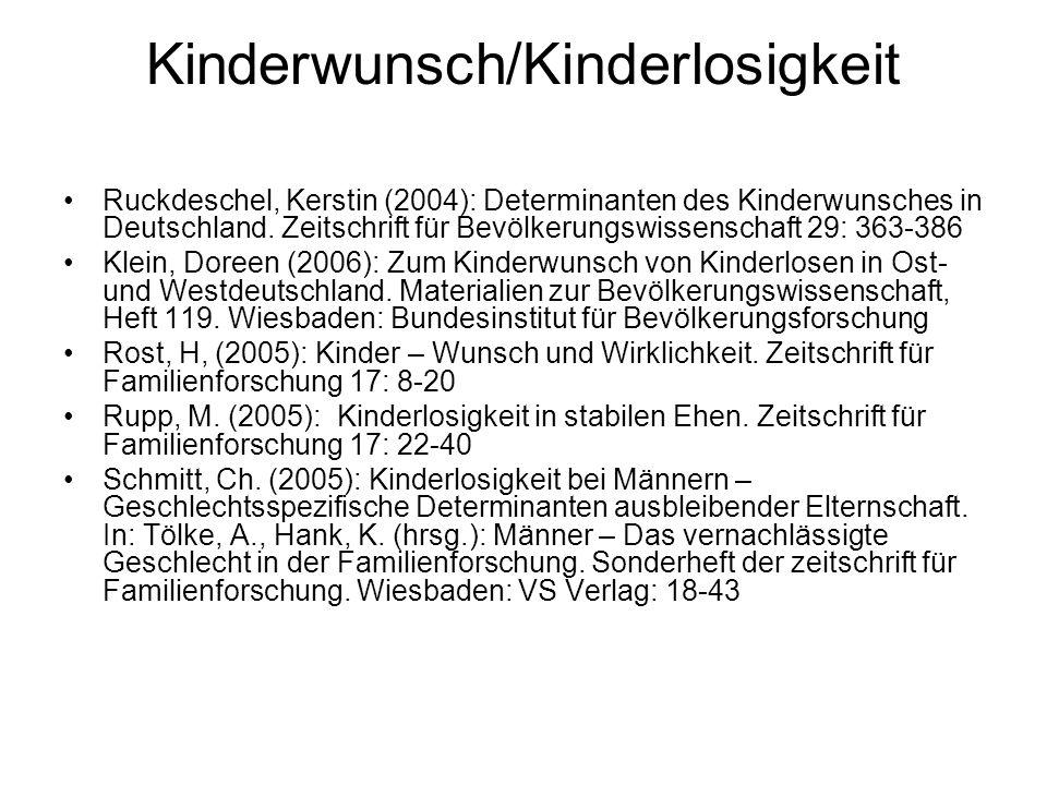 Kinderwunsch/Kinderlosigkeit Ruckdeschel, Kerstin (2004): Determinanten des Kinderwunsches in Deutschland. Zeitschrift für Bevölkerungswissenschaft 29