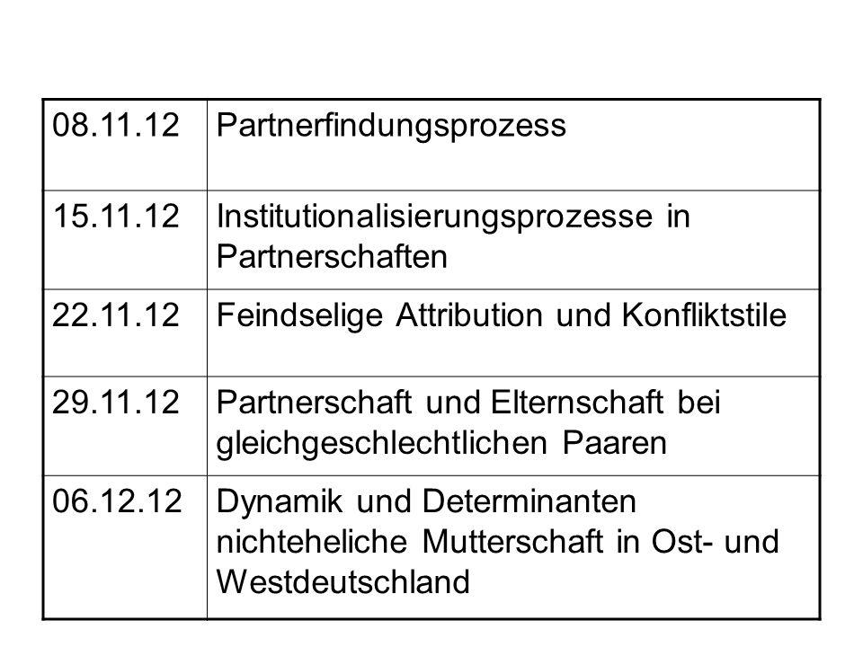 08.11.12Partnerfindungsprozess 15.11.12Institutionalisierungsprozesse in Partnerschaften 22.11.12Feindselige Attribution und Konfliktstile 29.11.12Par
