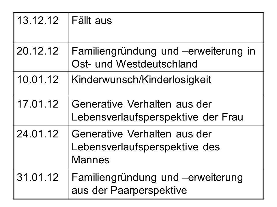13.12.12Fällt aus 20.12.12Familiengründung und –erweiterung in Ost- und Westdeutschland 10.01.12Kinderwunsch/Kinderlosigkeit 17.01.12Generative Verhal