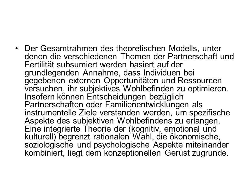 Der Gesamtrahmen des theoretischen Modells, unter denen die verschiedenen Themen der Partnerschaft und Fertilität subsumiert werden basiert auf der gr