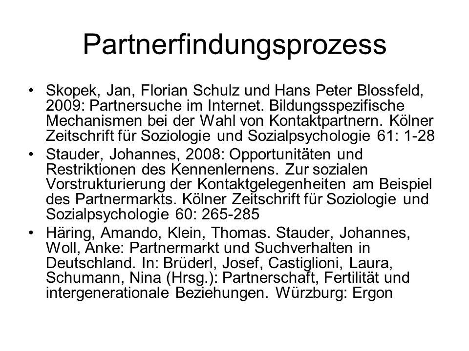 Partnerfindungsprozess Skopek, Jan, Florian Schulz und Hans Peter Blossfeld, 2009: Partnersuche im Internet. Bildungsspezifische Mechanismen bei der W