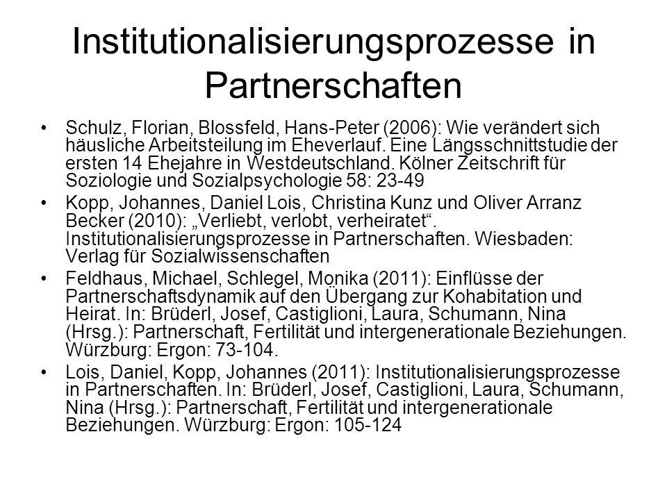 Institutionalisierungsprozesse in Partnerschaften Schulz, Florian, Blossfeld, Hans-Peter (2006): Wie verändert sich häusliche Arbeitsteilung im Ehever