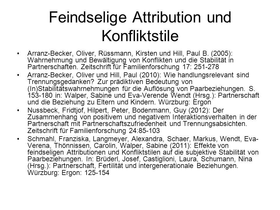 Feindselige Attribution und Konfliktstile Arranz-Becker, Oliver, Rüssmann, Kirsten und Hill, Paul B. (2005): Wahrnehmung und Bewältigung von Konflikte