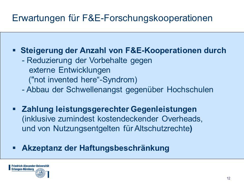 12 Erwartungen für F&E-Forschungskooperationen Steigerung der Anzahl von F&E-Kooperationen durch - Reduzierung der Vorbehalte gegen externe Entwicklun