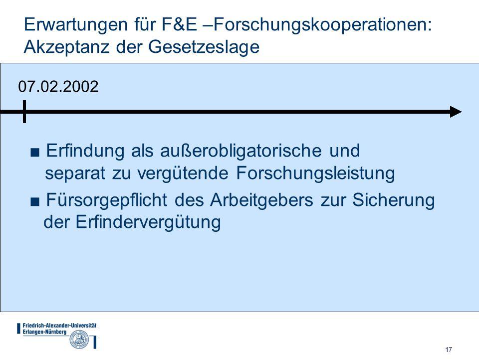 17 Erwartungen für F&E –Forschungskooperationen: Akzeptanz der Gesetzeslage Erfindung als außerobligatorische und separat zu vergütende Forschungsleis