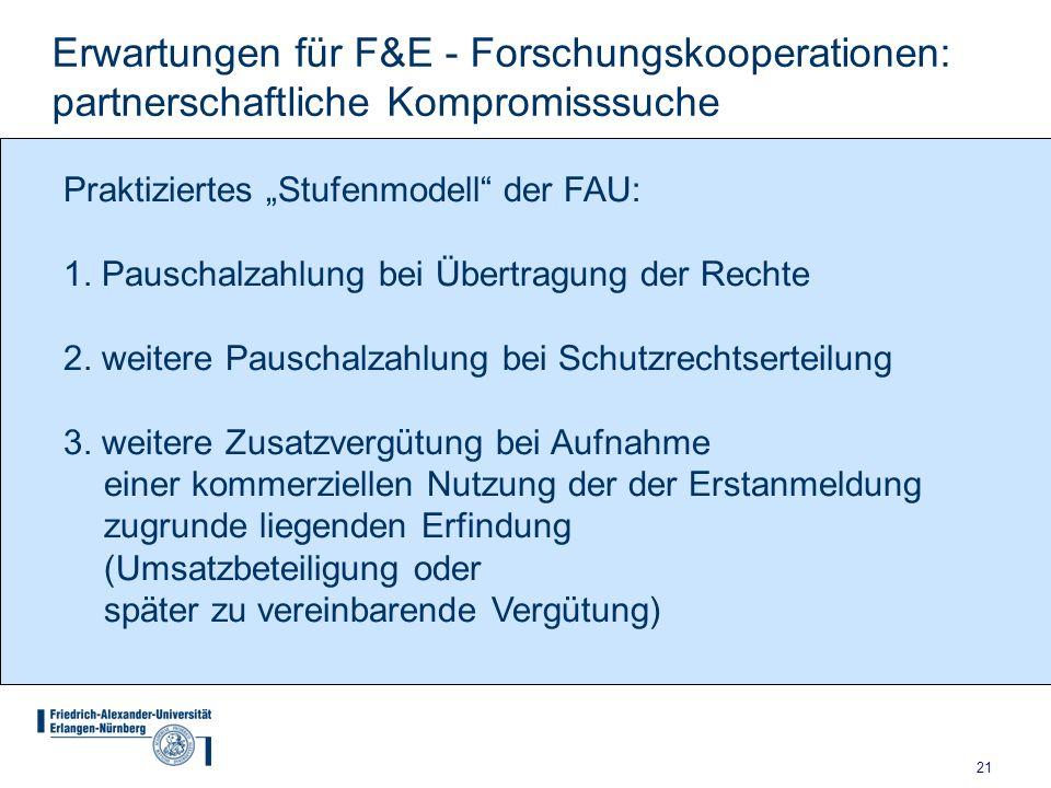 21 Erwartungen für F&E - Forschungskooperationen: partnerschaftliche Kompromisssuche Praktiziertes Stufenmodell der FAU: 1. Pauschalzahlung bei Übertr