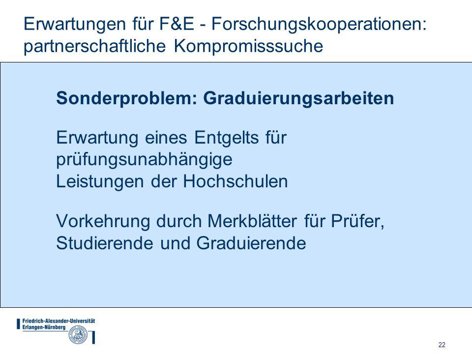 22 Erwartungen für F&E - Forschungskooperationen: partnerschaftliche Kompromisssuche Sonderproblem: Graduierungsarbeiten Erwartung eines Entgelts für