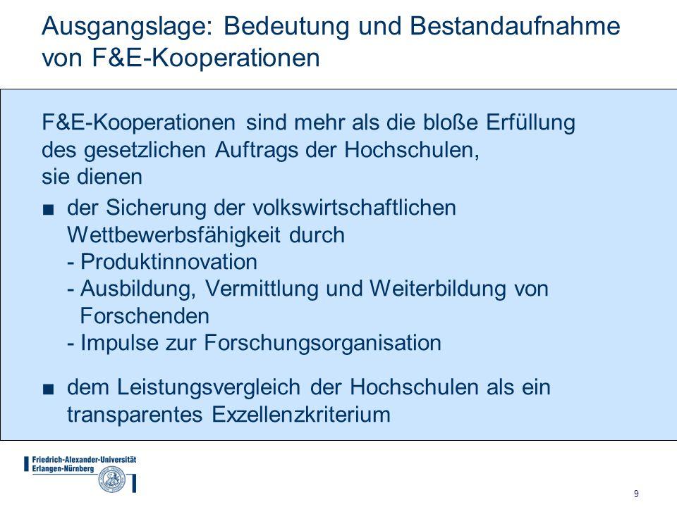 9 Ausgangslage: Bedeutung und Bestandaufnahme von F&E-Kooperationen der Sicherung der volkswirtschaftlichen Wettbewerbsfähigkeit durch - Produktinnova