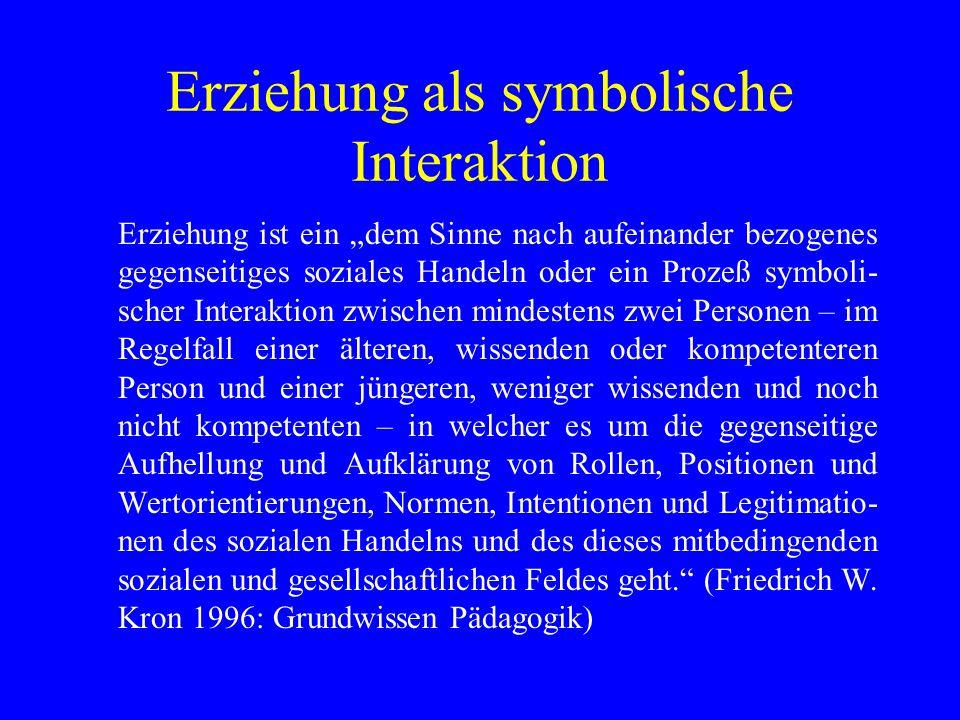 Erziehung als symbolische Interaktion Erziehung ist ein dem Sinne nach aufeinander bezogenes gegenseitiges soziales Handeln oder ein Prozeß symboli- s