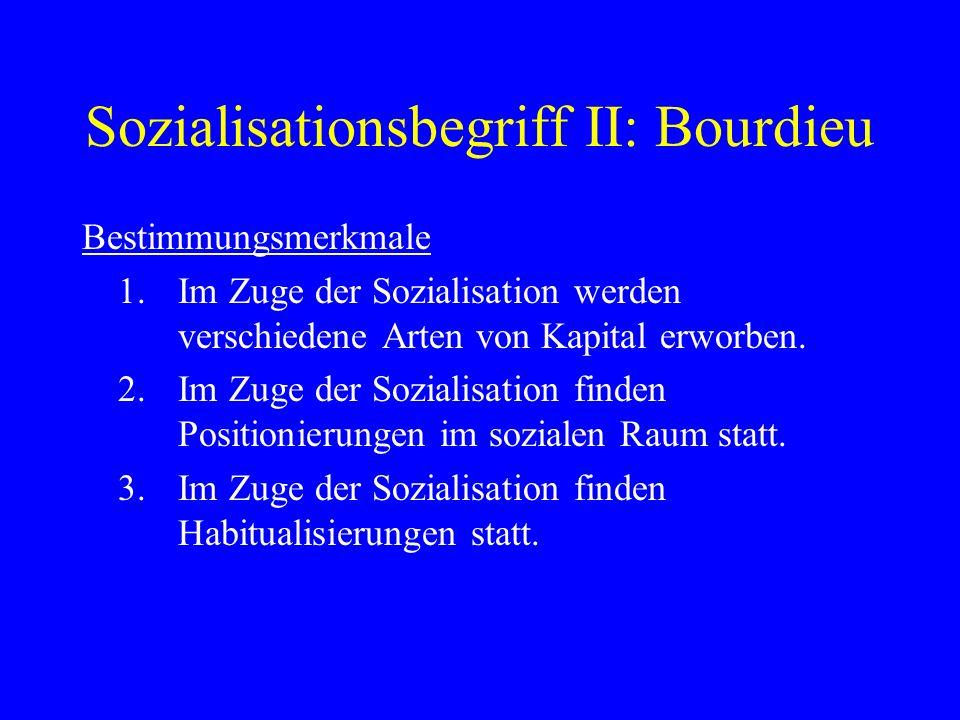 Sozialisationsbegriff II: Bourdieu Bestimmungsmerkmale 1.Im Zuge der Sozialisation werden verschiedene Arten von Kapital erworben. 2.Im Zuge der Sozia