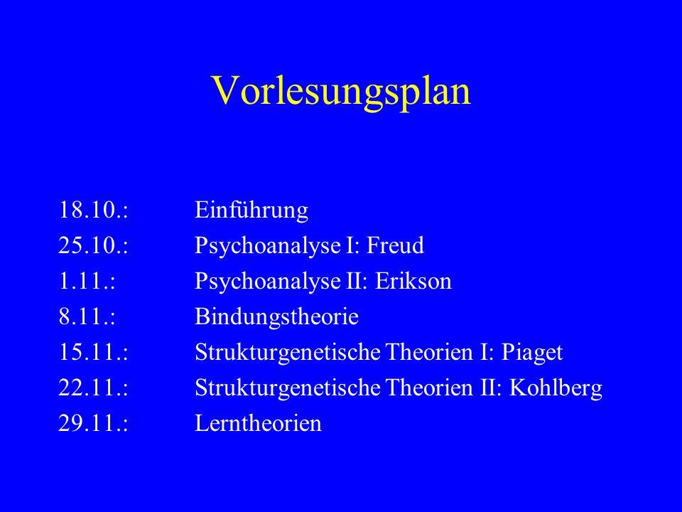 Vorlesungsplan 18.10.:Einführung 25.10.: Psychoanalyse I: Freud 1.11.:Psychoanalyse II: Erikson 8.11.:Bindungstheorie 15.11.:Strukturgenetische Theori