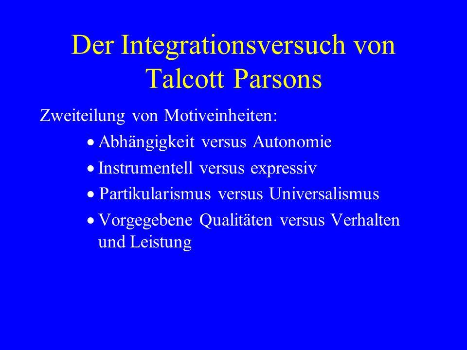 Der Integrationsversuch von Talcott Parsons Zweiteilung von Motiveinheiten: Abhängigkeit versus Autonomie Instrumentell versus expressiv Partikularism