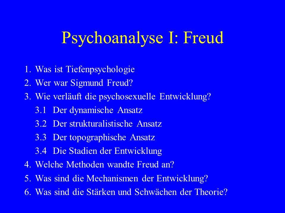 Psychoanalyse I: Freud 1. Was ist Tiefenpsychologie 2. Wer war Sigmund Freud? 3. Wie verläuft die psychosexuelle Entwicklung? 3.1 Der dynamische Ansat