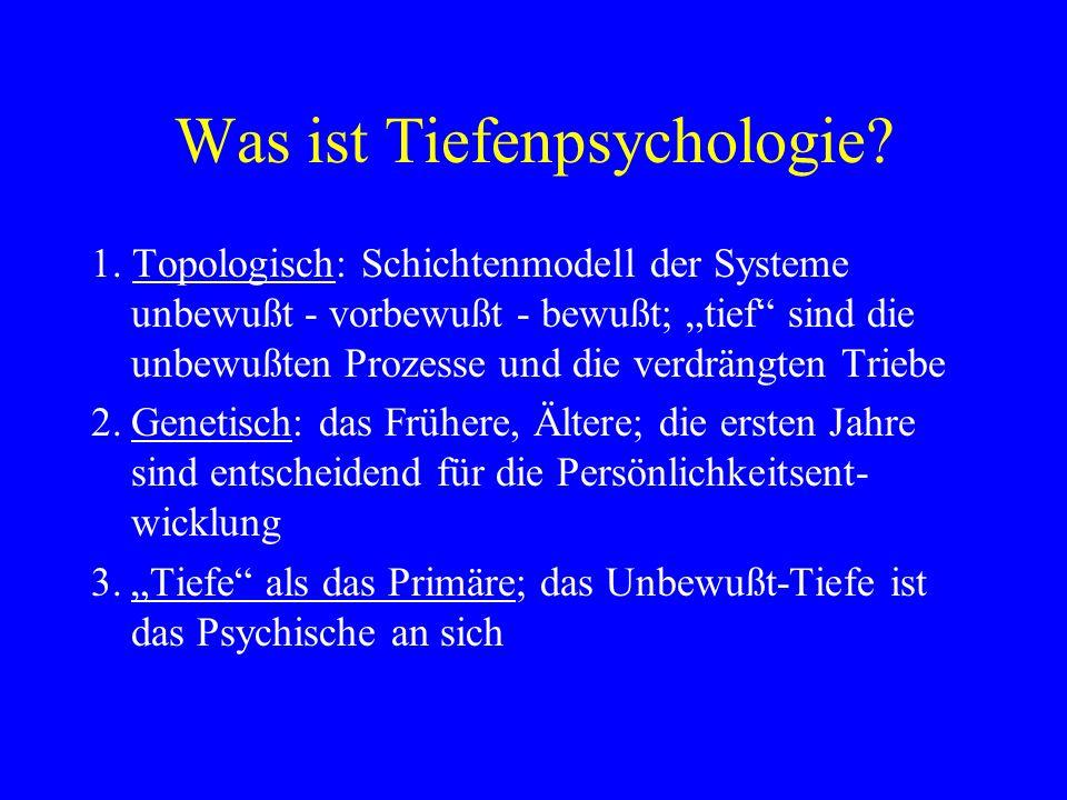 Was ist Tiefenpsychologie? 1. Topologisch: Schichtenmodell der Systeme unbewußt - vorbewußt - bewußt; tief sind die unbewußten Prozesse und die verdrä