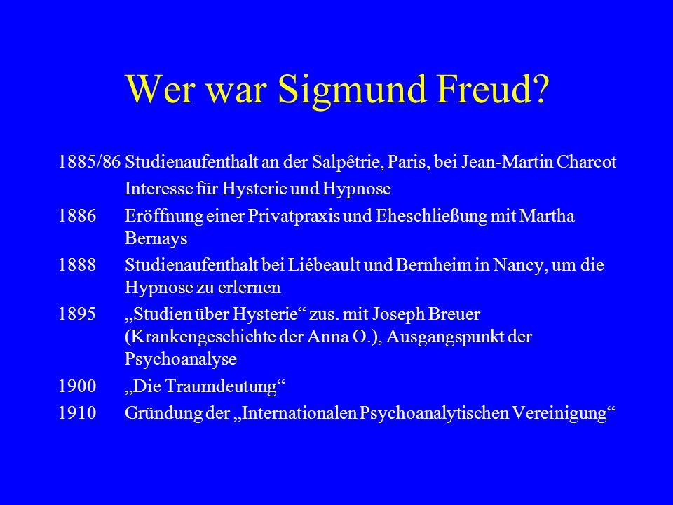 Wer war Sigmund Freud? 1885/86Studienaufenthalt an der Salpêtrie, Paris, bei Jean-Martin Charcot Interesse für Hysterie und Hypnose 1886Eröffnung eine