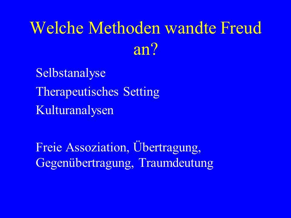 Welche Methoden wandte Freud an? Selbstanalyse Therapeutisches Setting Kulturanalysen Freie Assoziation, Übertragung, Gegenübertragung, Traumdeutung