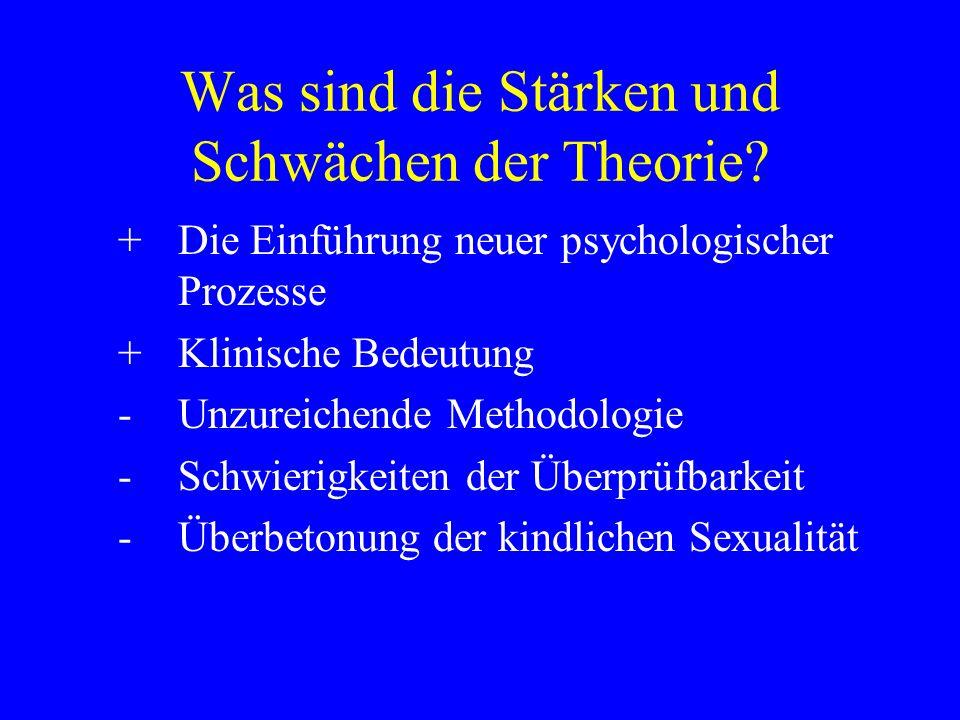 Was sind die Stärken und Schwächen der Theorie? +Die Einführung neuer psychologischer Prozesse +Klinische Bedeutung -Unzureichende Methodologie -Schwi