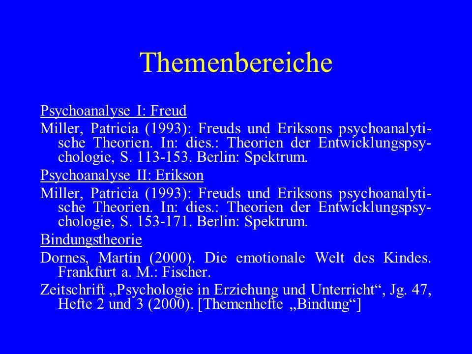 Themenbereiche Psychoanalyse I: Freud Miller, Patricia (1993): Freuds und Eriksons psychoanalyti- sche Theorien. In: dies.: Theorien der Entwicklungsp