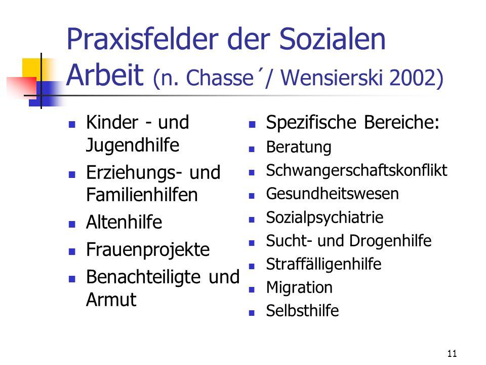 11 Praxisfelder der Sozialen Arbeit (n. Chasse´/ Wensierski 2002) Kinder - und Jugendhilfe Erziehungs- und Familienhilfen Altenhilfe Frauenprojekte Be