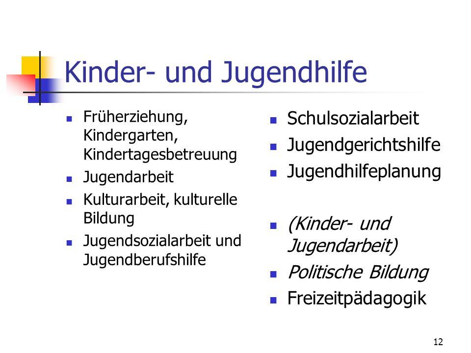 12 Kinder- und Jugendhilfe Früherziehung, Kindergarten, Kindertagesbetreuung Jugendarbeit Kulturarbeit, kulturelle Bildung Jugendsozialarbeit und Juge