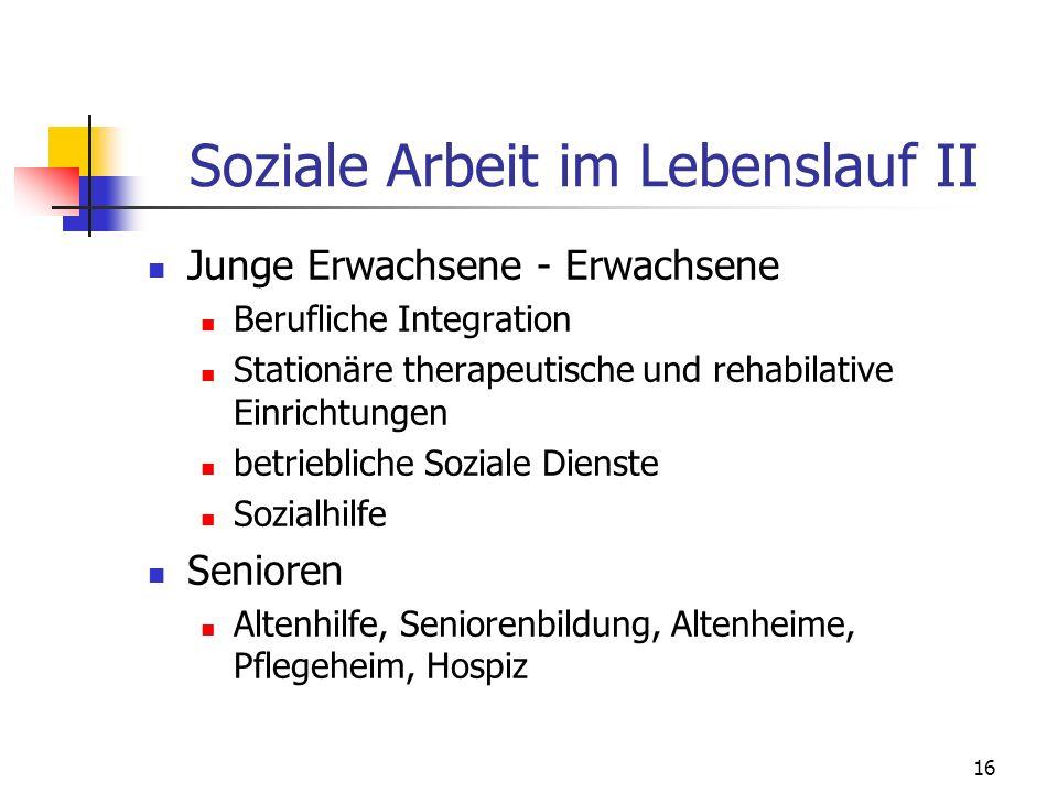 16 Soziale Arbeit im Lebenslauf II Junge Erwachsene - Erwachsene Berufliche Integration Stationäre therapeutische und rehabilative Einrichtungen betri