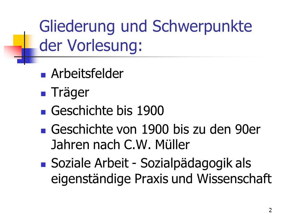 2 Gliederung und Schwerpunkte der Vorlesung: Arbeitsfelder Träger Geschichte bis 1900 Geschichte von 1900 bis zu den 90er Jahren nach C.W. Müller Sozi