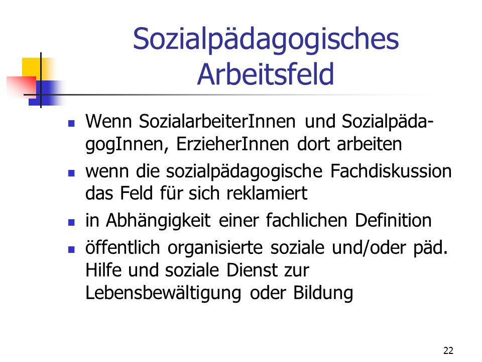 22 Sozialpädagogisches Arbeitsfeld Wenn SozialarbeiterInnen und Sozialpäda- gogInnen, ErzieherInnen dort arbeiten wenn die sozialpädagogische Fachdisk
