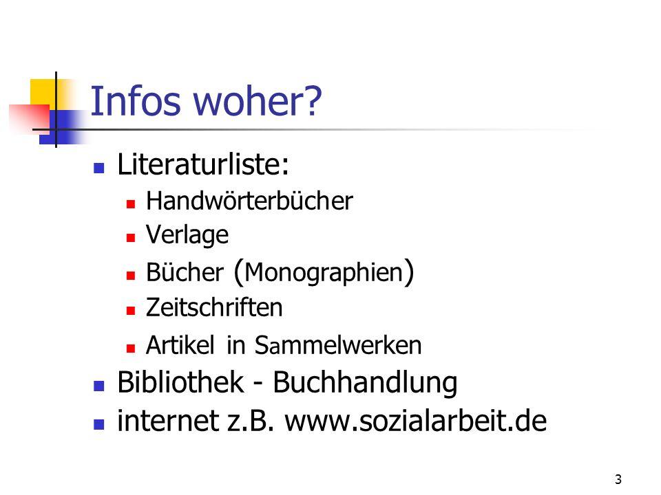 3 Infos woher? Literaturliste: Handwörterbücher Verlage Bücher ( Monographien ) Zeitschriften Artikel in S a mmelwerken Bibliothek - Buchhandlung inte