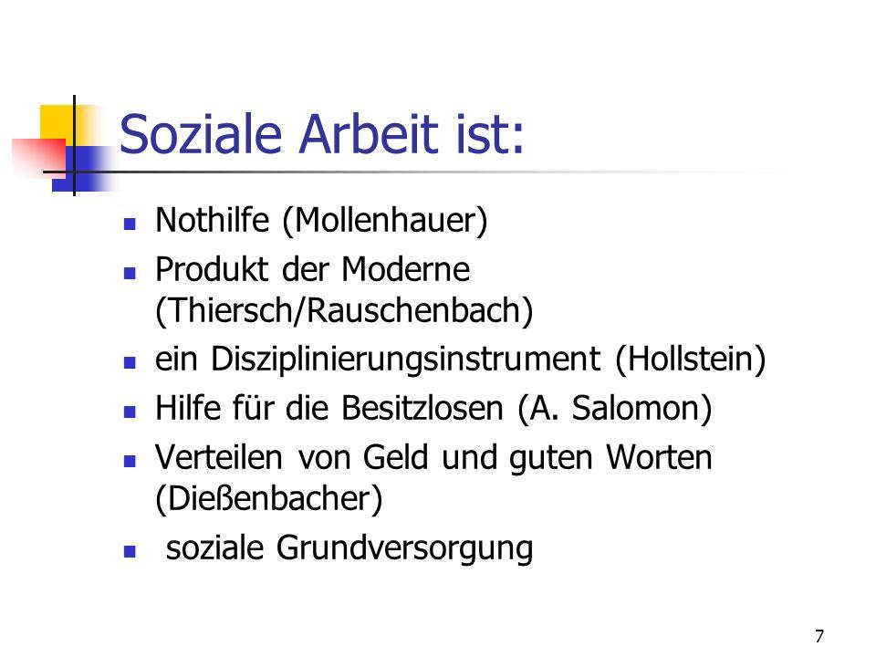 7 Soziale Arbeit ist: Nothilfe (Mollenhauer) Produkt der Moderne (Thiersch/Rauschenbach) ein Disziplinierungsinstrument (Hollstein) Hilfe für die Besi