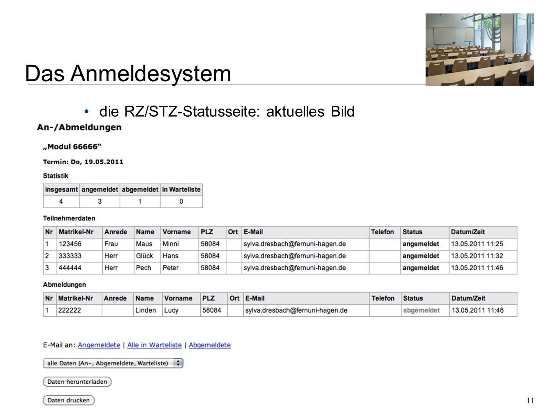 11 die RZ/STZ-Statusseite: aktuelles Bild Zentrale Dienstbesprechung der Regional- und Studienzentren | 18. Mai 2011 | Sylva Dresbach, Nelja Sirotin Z