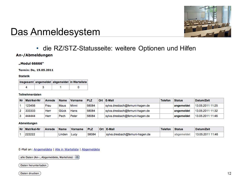 12 die RZ/STZ-Statusseite: weitere Optionen und Hilfen Zentrale Dienstbesprechung der Regional- und Studienzentren | 18. Mai 2011 | Sylva Dresbach, Ne