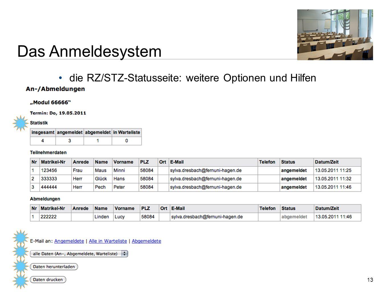 13 die RZ/STZ-Statusseite: weitere Optionen und Hilfen Zentrale Dienstbesprechung der Regional- und Studienzentren | 18. Mai 2011 | Sylva Dresbach, Ne