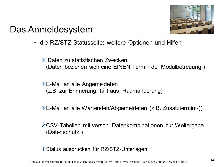 14 die RZ/STZ-Statusseite: weitere Optionen und Hilfen Daten zu statistischen Zwecken (Daten beziehen sich eine EINEN Termin der Modulbetreuung!) E-Ma