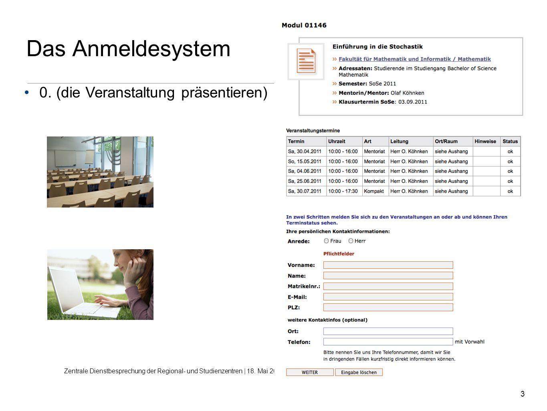 3 Das Anmeldesystem Zentrale Dienstbesprechung der Regional- und Studienzentren | 18. Mai 2011 | Sylva Dresbach, Nelja Sirotin Zentrum für Medien und