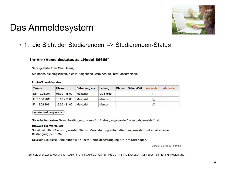 4 1. die Sicht der Studierenden –> Studierenden-Status Das Anmeldesystem Zentrale Dienstbesprechung der Regional- und Studienzentren | 18. Mai 2011 |