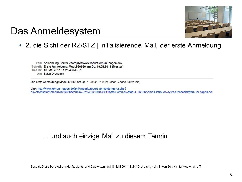 6 Das Anmeldesystem Zentrale Dienstbesprechung der Regional- und Studienzentren | 18. Mai 2011 | Sylva Dresbach, Nelja Sirotin Zentrum für Medien und