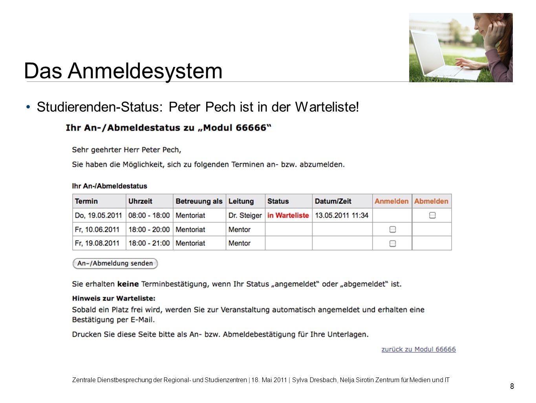 8 Studierenden-Status: Peter Pech ist in der Warteliste! Zentrale Dienstbesprechung der Regional- und Studienzentren | 18. Mai 2011 | Sylva Dresbach,